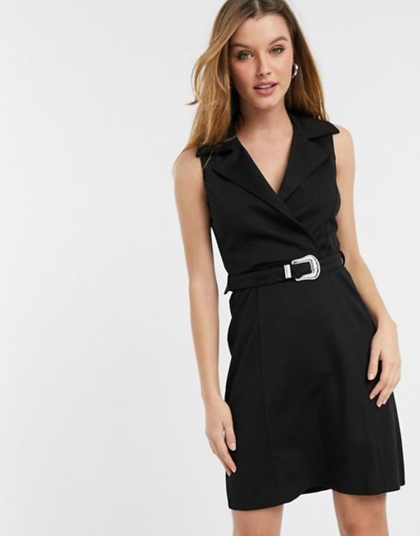 リバーアイランド レディース ワンピース トップス River Island wrap mini tux dress in black Black
