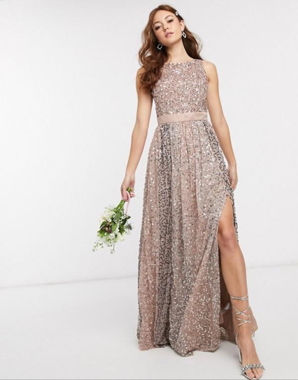 マヤ レディース ワンピース トップス Maya Bridesmaid allover contrast tonal delicate sequin dress with satin waist in taupe blush Multi