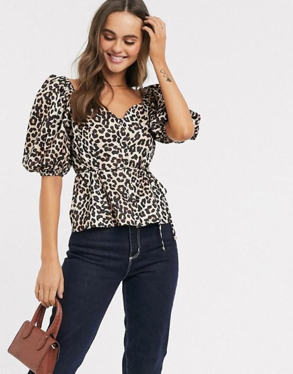 エイソス レディース シャツ トップス ASOS DESIGN satin tea blouse in leopard print Multi