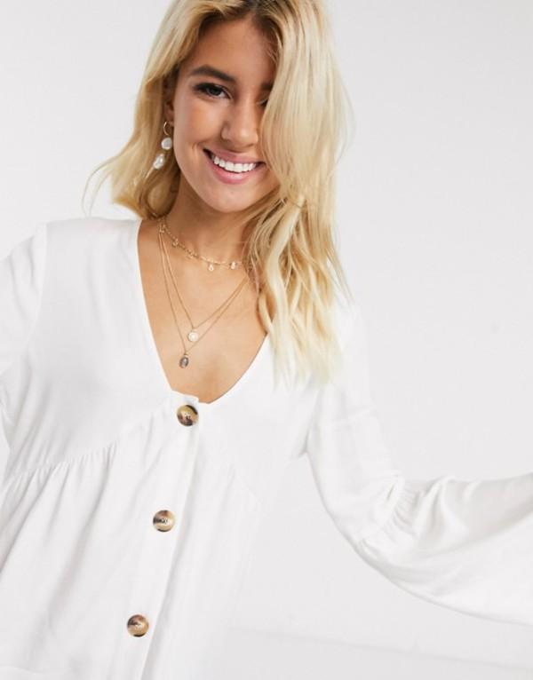 エイソス レディース シャツ トップス ASOS DESIGN long sleeve v neck smock top with button detail Ivory