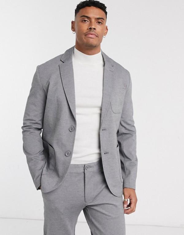オンリーアンドサンズ メンズ ジャケット・ブルゾン アウター Only & Sons relaxed jersey suit jacket in gray Gray melange