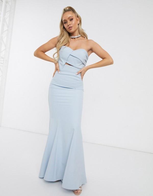 ジャーロ レディース ワンピース トップス Jarlo Bridesmaid origami bandeau maxi dress in blue Blue