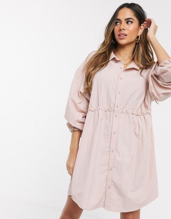 ミスガイデッド レディース ワンピース トップス Missguided gathered waist shirt dress Blush