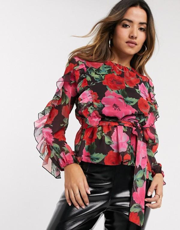 リバーアイランド レディース シャツ トップス River Island ruffle front printed blouse in black Black print