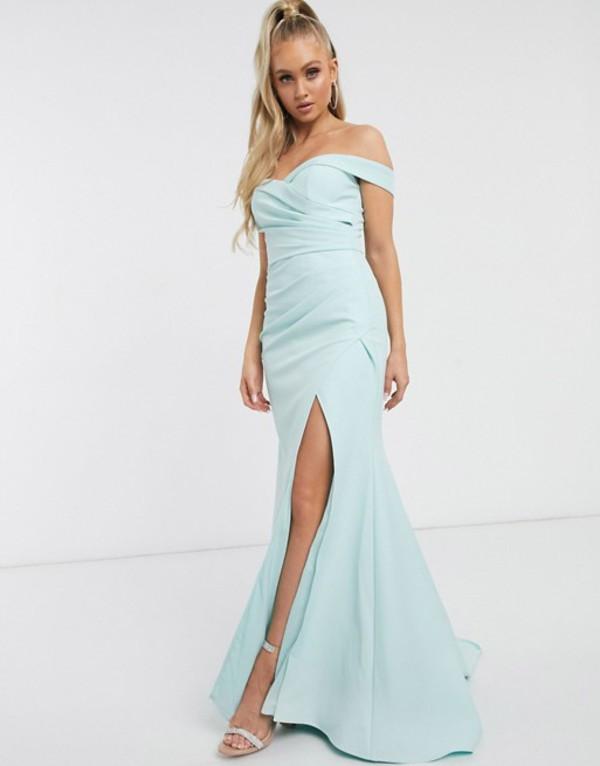 ジャーロ レディース ワンピース トップス Jarlo Bridesmaid bardot maxi dress with sweetheart plunge in mint Mint