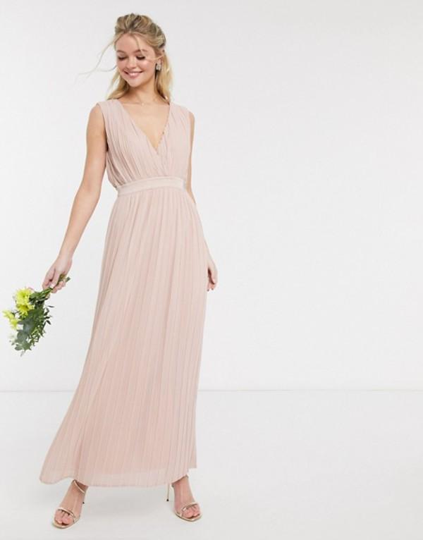 ワイエーエス レディース ワンピース トップス Y.A.S pleated maxi dress with deep v neck in pink Dusty rose