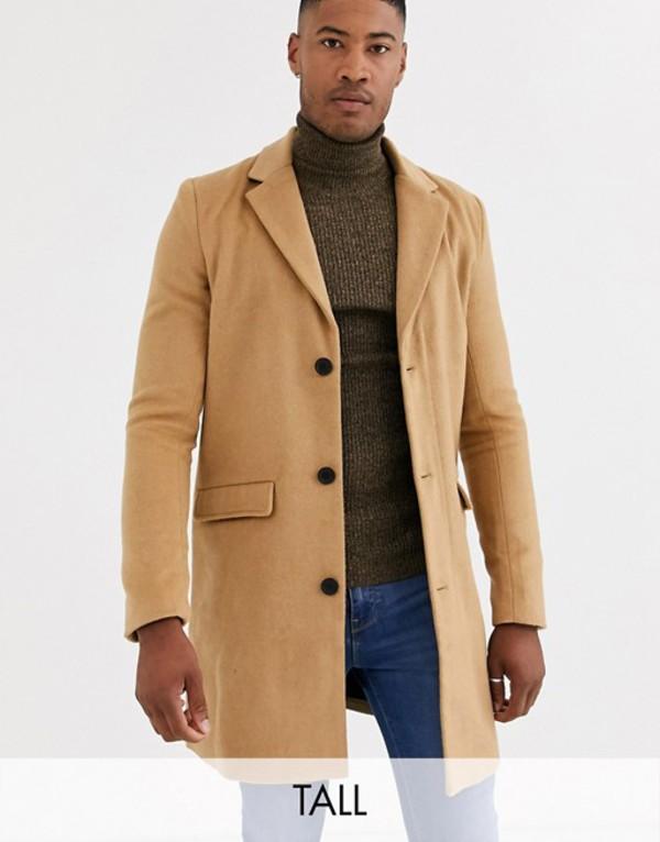 アナザーインフルエンス メンズ コート アウター Another Influence Tall wool over coat in tan Tan