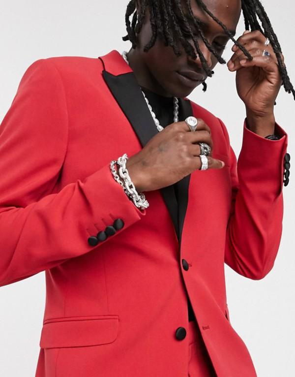 エイソス メンズ ジャケット・ブルゾン アウター ASOS DESIGN super skinny blazer in red Red