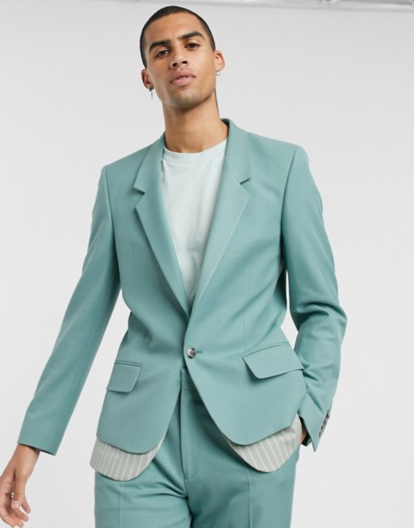 エイソス メンズ ジャケット・ブルゾン アウター ASOS DESIGN slim suit jacket with double layer in green stripe Green