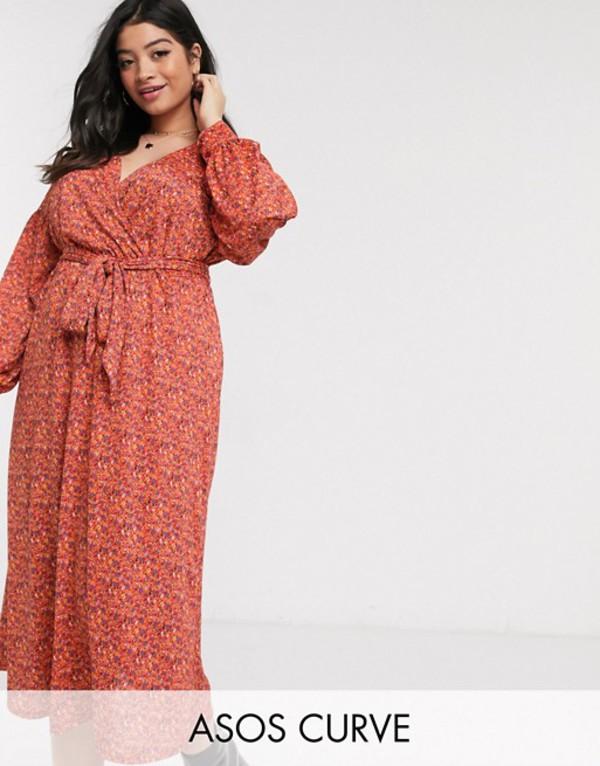 エイソス レディース ワンピース トップス ASOS DESIGN Curve wrap midi dress with belt in red ditsy Red ditsy