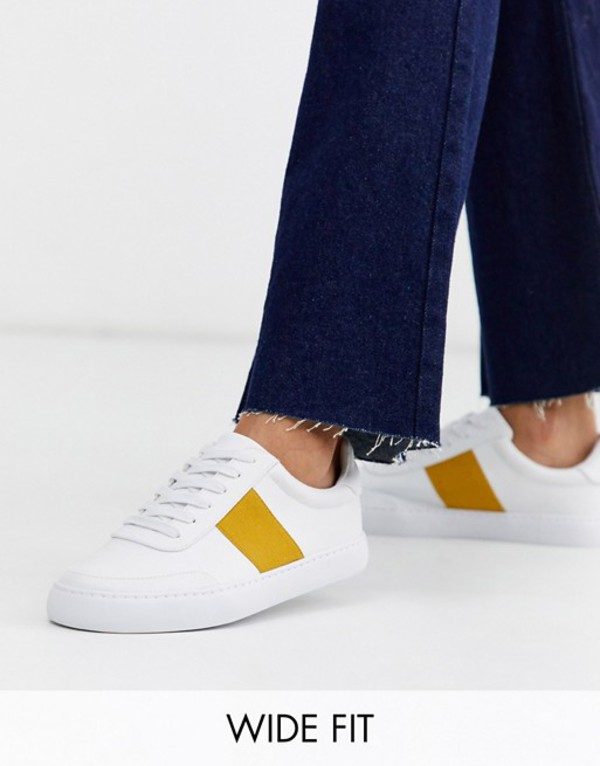 エイソス レディース スニーカー シューズ ASOS DESIGN Wide Fit Dime lace up sneakers in white and mustard White /mustard