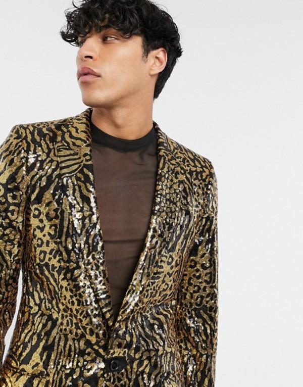 エイソス メンズ ジャケット・ブルゾン アウター ASOS DESIGN skinny longer length suit jacket in tiger sequin Gold