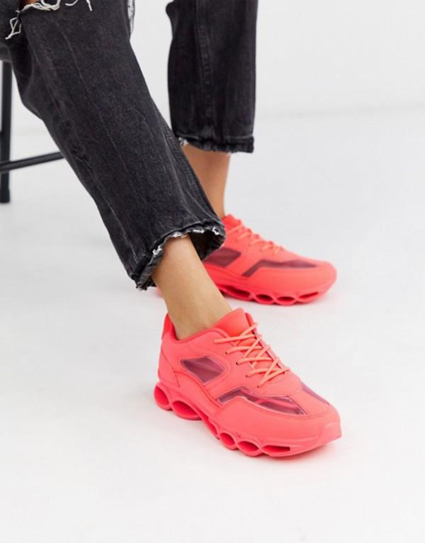 エイソス レディース スニーカー シューズ ASOS DESIGN Detroit bubble sole sneakers in neon pink Neon pink