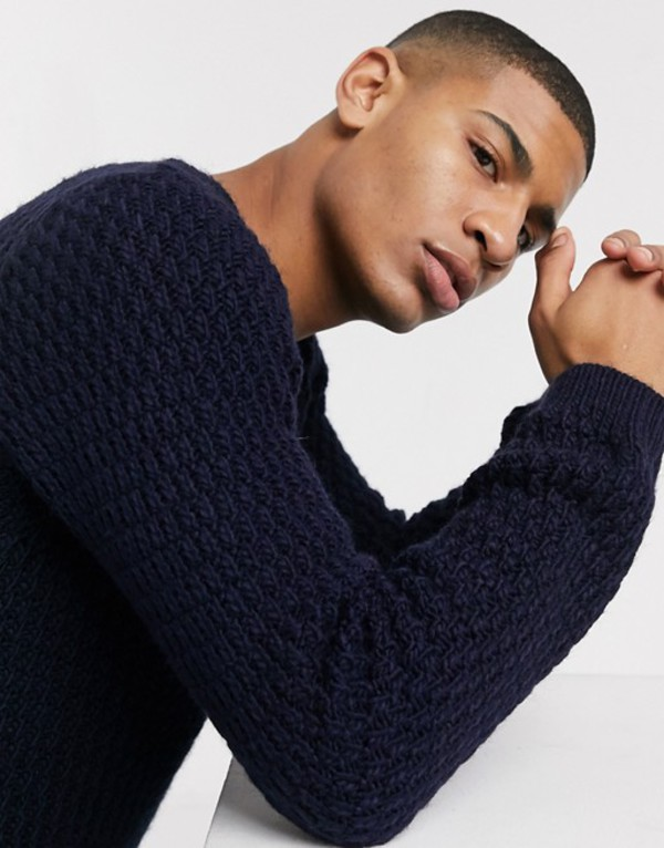 エイソス メンズ ニット・セーター アウター ASOS DESIGN fluffy sweater with basket texture in navy Navy