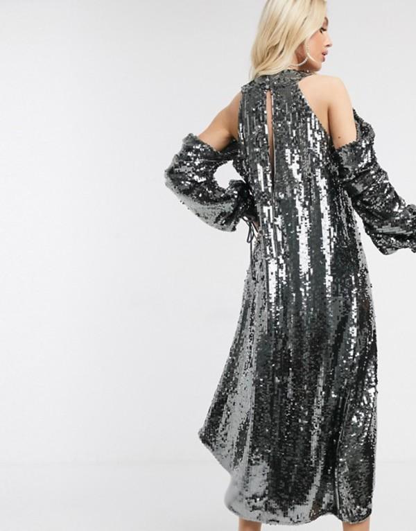 エイソス レディース ワンピース トップス ASOS DESIGN halter drape sequin cold shoulder midi dress Graygvb7yYIf6
