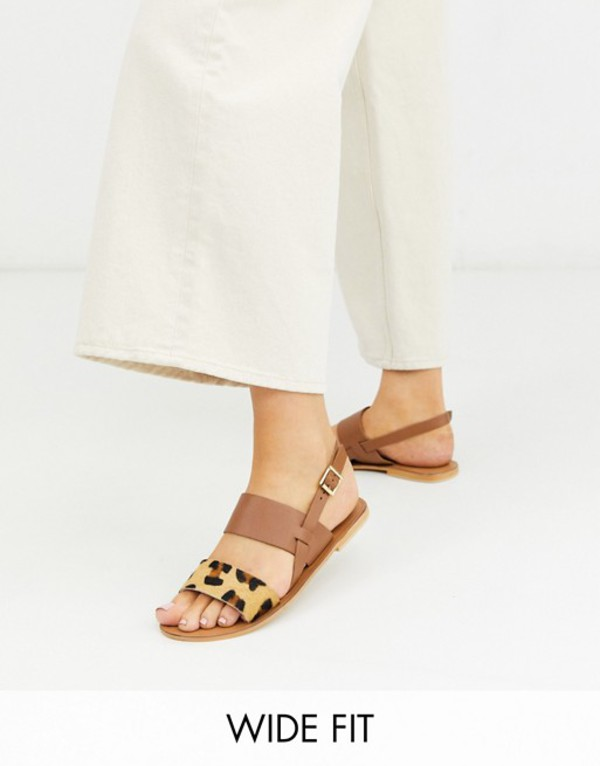 エイソス レディース サンダル シューズ ASOS DESIGN Wide Fit Foxglove leather flat sandals in leopard Leopard/tan