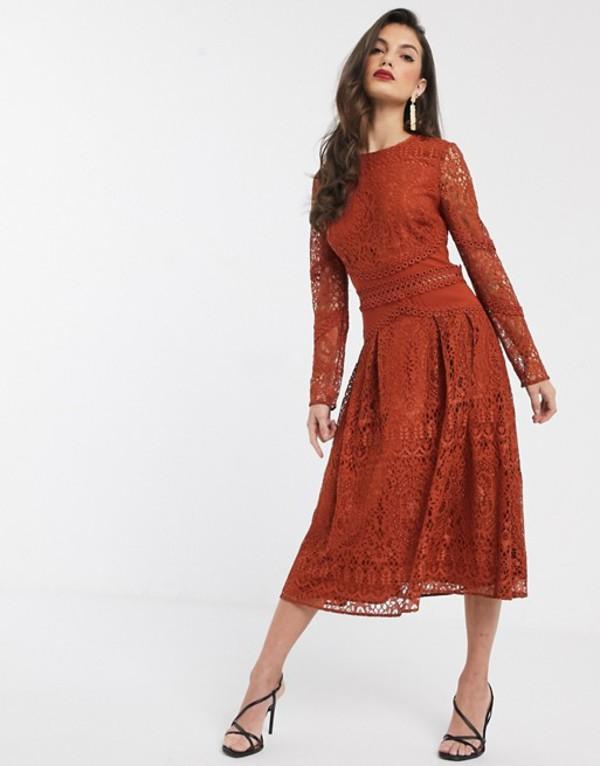 エイソス レディース ワンピース トップス ASOS DESIGN long sleeve prom dress in lace with circle trim details Rust