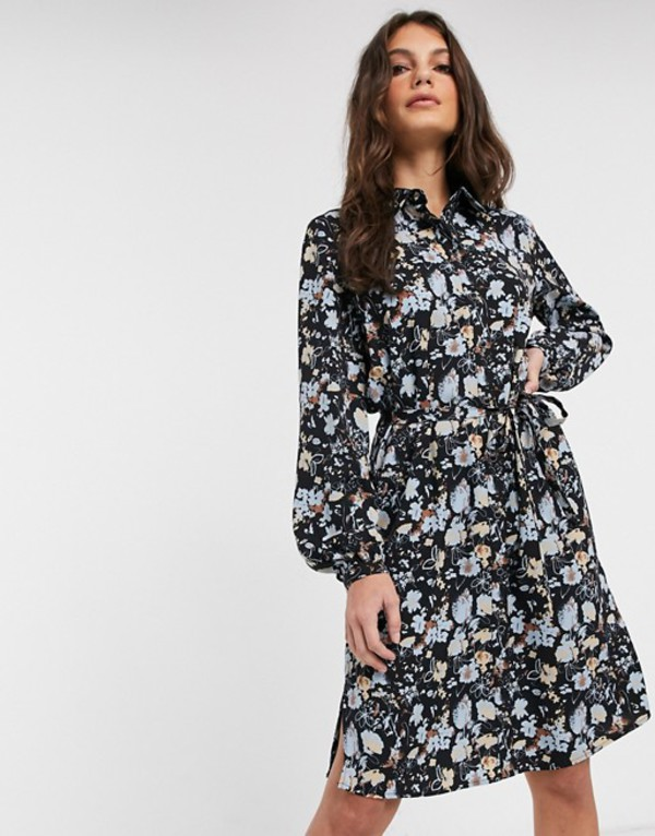 ヴィラ レディース ワンピース トップス Vila mini shirt dress with tie waist in black floral Aop black flower