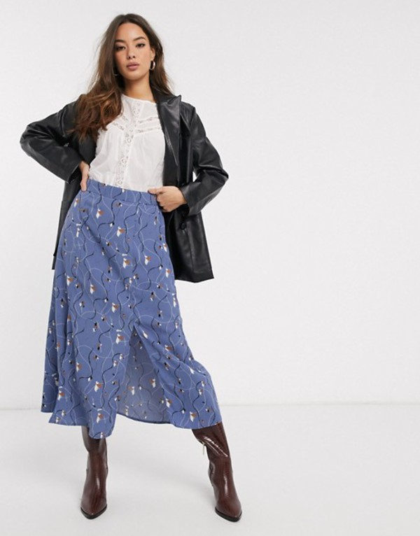 ヴェロモーダ レディース スカート ボトムス Vero Moda midi skirt with front split in blue floral Blue rose aop