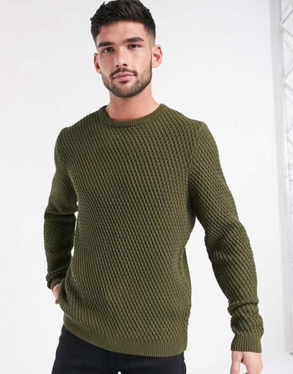 エイソス メンズ ニット・セーター アウター ASOS DESIGN textured sweater in khaki Khaki