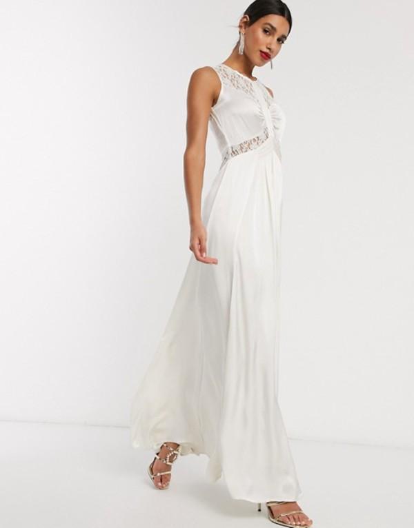ゴースト レディース ワンピース トップス Ghost elvita wedding dress with lace neck detail Ivory