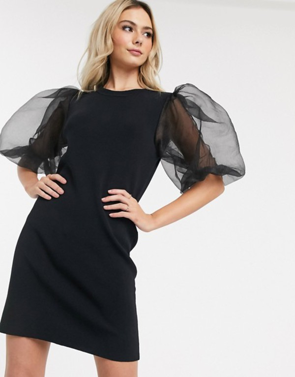 ネバーフリードレスド レディース ワンピース トップス Never Fully Dressed puff sleeve knitted midi dress in black Black