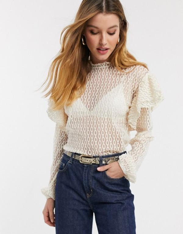 リバーアイランド レディース シャツ トップス River Island frill shoulder lace blouse in cream Cream