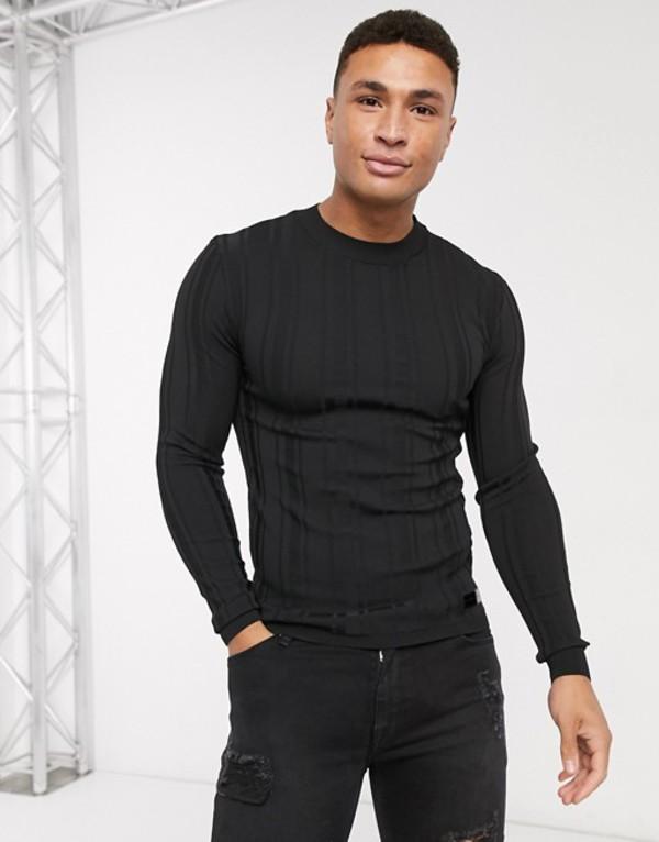 リバーアイランド メンズ ニット・セーター アウター River Island long sleeve knitted muscle sweater in black Black