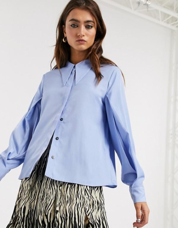 オブジェクト レディース シャツ トップス Object Shirt with extreme collar detail in blue Blue