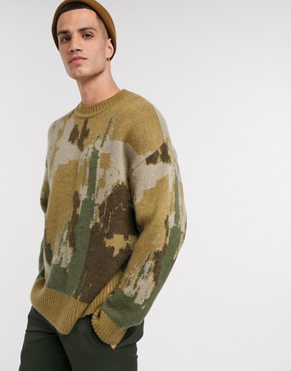 ウィークデイ メンズ ニット・セーター アウター Weekday Romeo Art knitted sweater in brown Brown