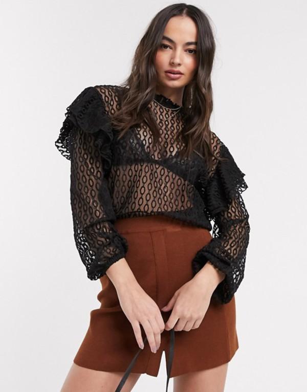 リバーアイランド レディース シャツ トップス River Island frill shoulder lace blouse in black Black