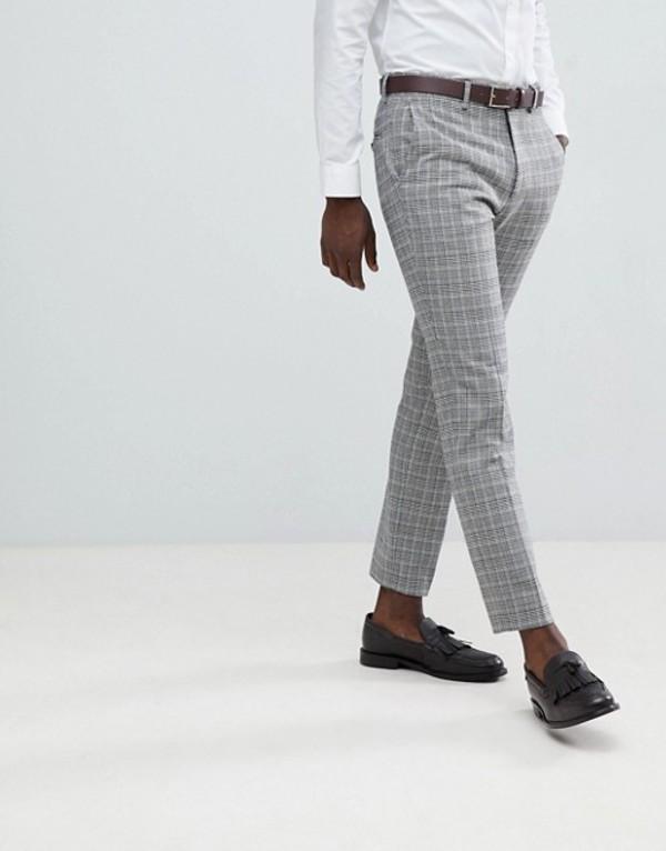 フレンチコネクション メンズ カジュアルパンツ ボトムス French Connection Heritage Prince Of Wales Check Slim fit Suit Pants Gray