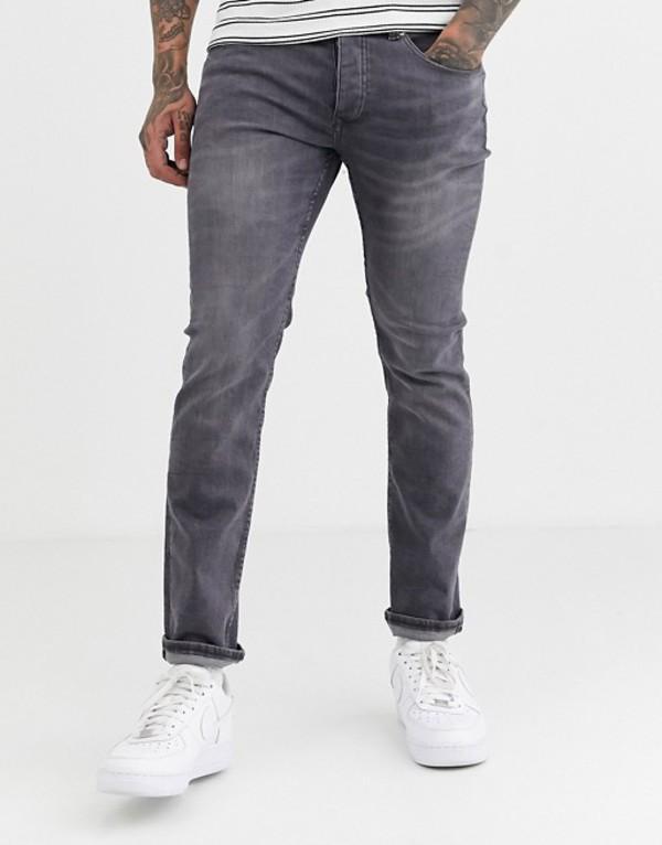 リバーアイランド メンズ デニムパンツ ボトムス River Island slim jeans in gray Gray
