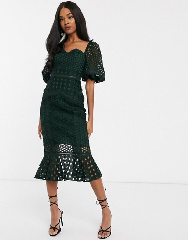 エイソス レディース ワンピース トップス ASOS DESIGN midi Dress in structured lace with puff sleeve Green