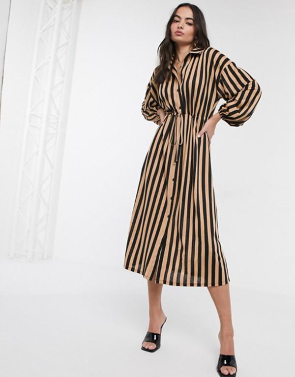 エイソス レディース ワンピース トップス ASOS DESIGN stripe shirt dress in black and tan stripe Black tan stripe