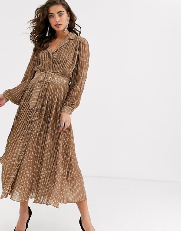 オブジェクト レディース ワンピース トップス Object polka dot pleated maxi dress with self belt Brown