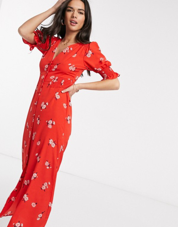 エイソス レディース ワンピース トップス ASOS DESIGN button through maxi tea dress with shirred waist in floral print Red based floral