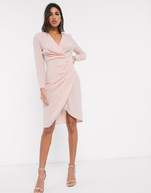 エイソス レディース ワンピース トップス ASOS DESIGN long sleeve pleat front wrap midi dress Blush