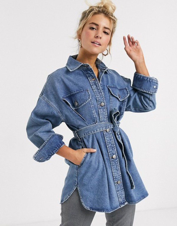 エイソス レディース スカート ボトムス ASOS DESIGN denim oversized belted shirt in midwash blue Midwash blue
