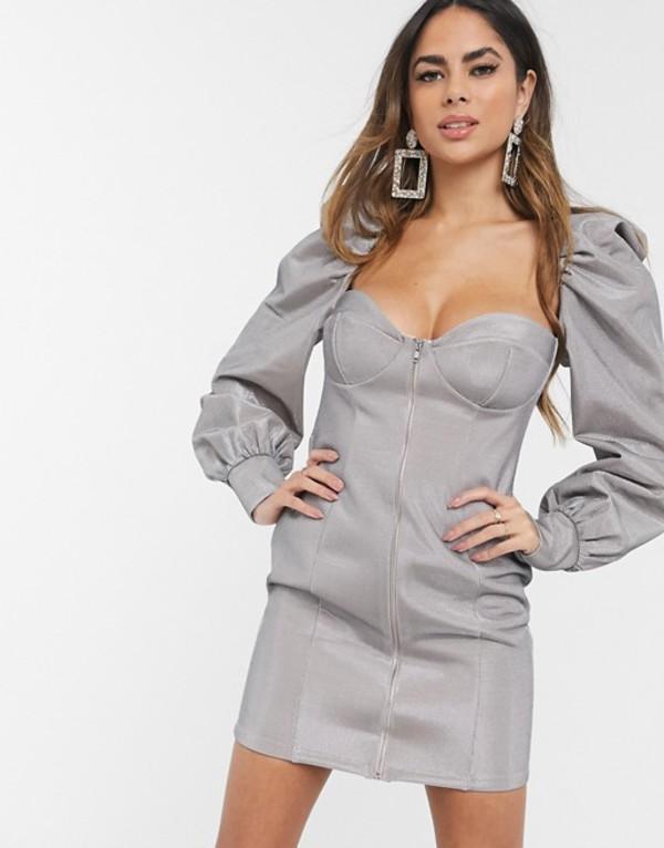 エイソス レディース ワンピース トップス ASOS DESIGN silver power puff sleeve zip front bodycon mini dress Silver