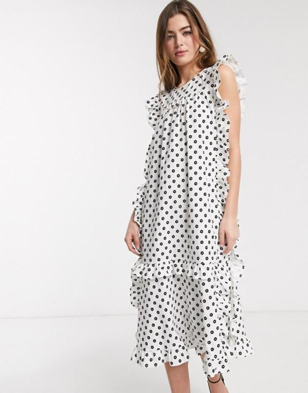 ロストインク レディース ワンピース トップス Lost Ink midi smock dress with frill edge in ditsy floral print Whit black floral
