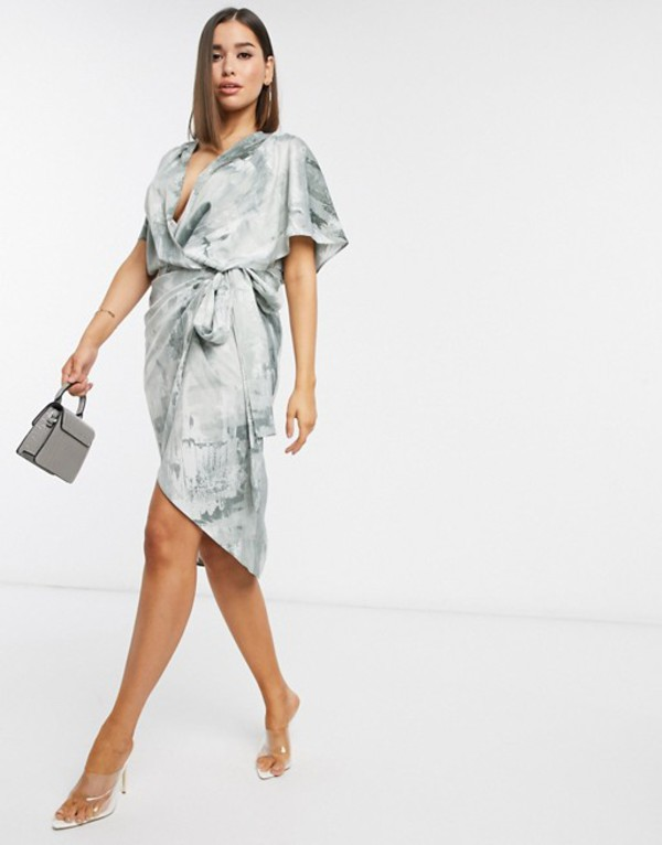 エイソス レディース ワンピース トップス ASOS DESIGN satin kimono wrap midi dress in abstract print Abstract print