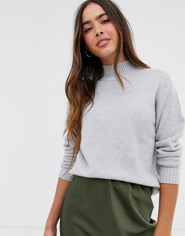 ヴィラ レディース ニット・セーター アウター Vila knitted sweater with high neck in gray Gray