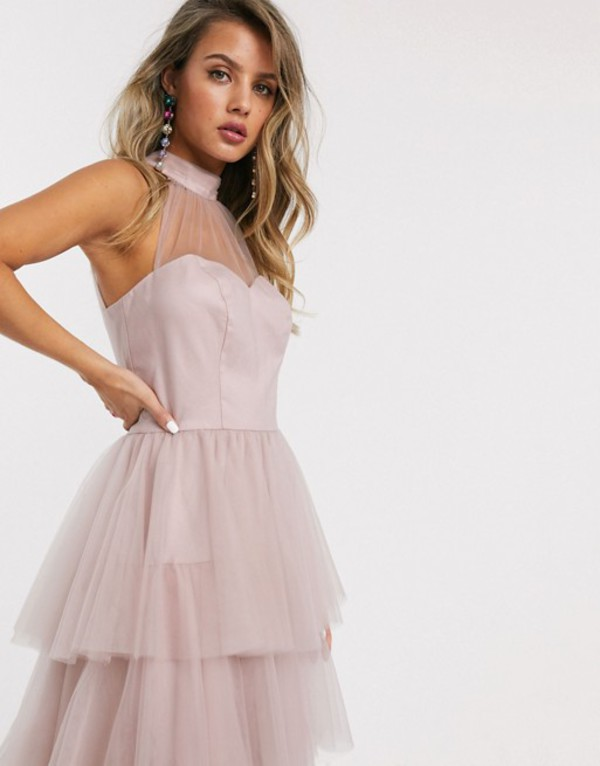 チチロンドン レディース ワンピース トップス Chi Chi London tiered midi prom dress in blush Pink