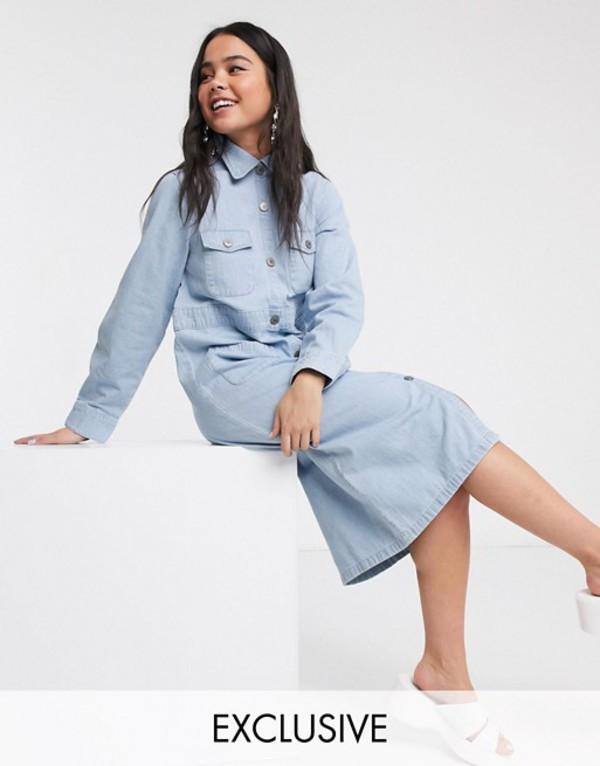 モンキ レディース ワンピース トップス Monki button through utility shirt dress in light blue Blue