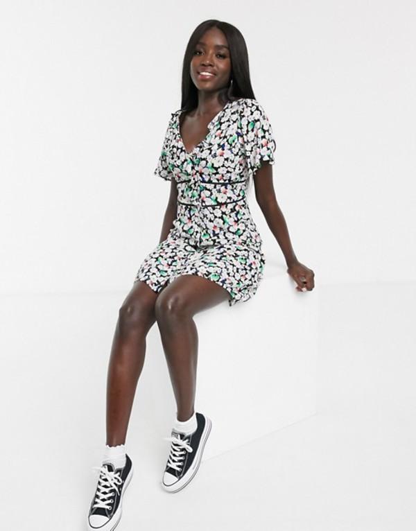 オアシス レディース ワンピース トップス Oasis button through frill skater dress in floral print Multi