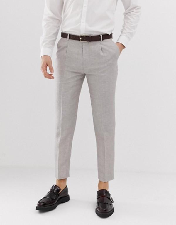 ハートアンドダガー メンズ カジュアルパンツ ボトムス Heart & Dagger skinny fit cropped pleated pants in linen Gray