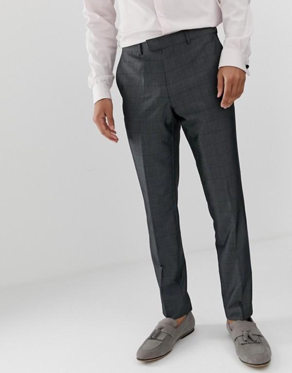 フレンチコネクション メンズ カジュアルパンツ ボトムス French Connection prince of wales check slim fit suit pants Gray
