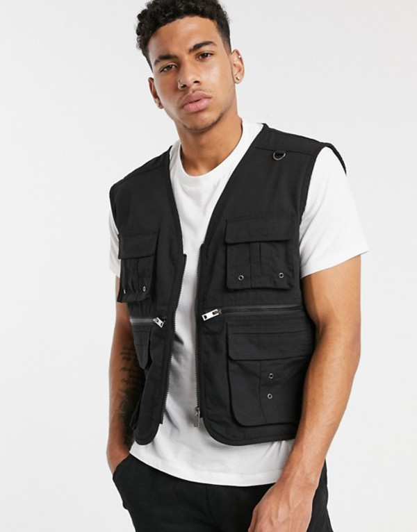 ソウルスター メンズ タンクトップ トップス Soul Star utility vest jacket in black Black