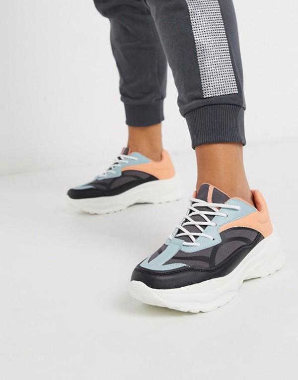 エイソス レディース スニーカー シューズ ASOS DESIGN Daily chunky sneakers in multi Gray/blue/pink mix